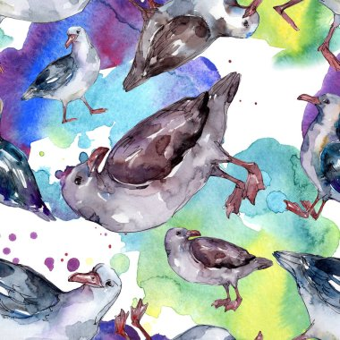 Sky bird seagull in a wildlife. Wild freedom, bird with a flying wings. Watercolor illustration set. Watercolour drawing fashion aquarelle. Seamless background pattern. Fabric wallpaper print texture. stock vector