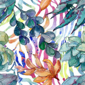 Sukulenti květinové botanické květy. Divoké květinové listy. Akvarel na obrázku. Akvarel na kreslicím módu. Bezespání vzorek pozadí. Textura pro tisk tapety.