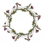 Fotografia Fiori selvatici fiori botanici floreali. Set di illustrazioni di sfondo dellacquerello. Telaio bordo ornamento quadrato.
