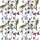 Wildflowers virágos botanikai virágok. Akvarell háttér illusztráció meg. Folytonos háttérmintázat.