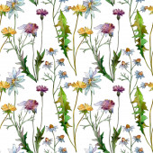 Fotografie Wildflowers floral botanical flowers. Wild spring leaf wildflower. Watercolor illustration set. Watercolour drawing fashion aquarelle. Seamless background pattern. Fabric wallpaper print texture.