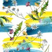 Květinové květiny. Divoké květinové listy. Akvarel na obrázku. Akvarel na kreslicím módu. Bezespání vzorek pozadí. Textura pro tisk tapety.