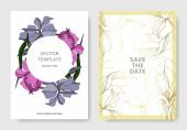 Vektor Iris virágos botanikai virágok. Fekete-fehér vésett tinta Art. Esküvői háttér-kártya dekoratív határon.