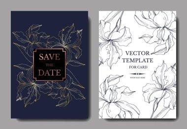 Vektör Iris çiçek botanik çiçekler. Siyah ve beyaz oyulmuş mürekkep sanatı. Düğün arka plan kartı dekoratif sınır.