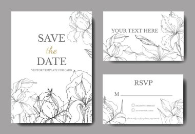 Vector Iris floral botanical flowers. Black and white engraved ink art. Wedding background card floral decorative border. Thank you, rsvp, invitation elegant card illustration graphic set banner. clip art vector