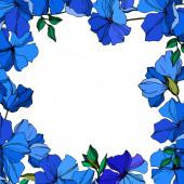 Vektorové botanické květiny lnu. Modré a zelené ryté barvy. Orámovaná hranatá hranice.