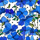 Vektorové botanické květiny lnu. Modré a zelené ryté barvy. Bezespání vzorek pozadí.