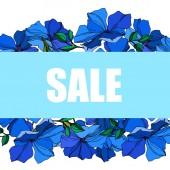 Vektor Flachs florale botanische Blumen. blau und grün gravierte Tuschekunst. Rahmen Rand Ornament Quadrat.