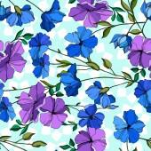 Vektor len virágos botanikai virágok. Kék és lila vésett tinta művészet. Folytonos háttérmintázat.
