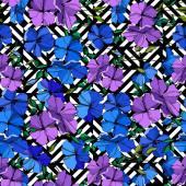 Vektorové botanické květiny lnu. Modrá a fialově vyřezávané umělecké dílo. Bezespání vzorek pozadí.