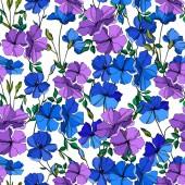 Vektor Flachs florale botanische Blumen. blau und violett gestochene Tuschekunst. nahtloses Hintergrundmuster.