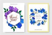 Vector Flax floral botanical flowers. Violet and blue engraved ink art. Wedding background card decorative border.