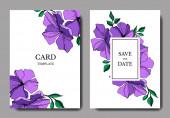 Vector Flax floral botanical flowers. Violet and green engraved ink art. Wedding background card decorative border.