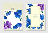 Vektorové botanické květiny lnu. Fialový a modrý rytý inkoust. Ozdobný okraj svatební karty.