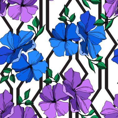 Vector Flax floral botanical flowers. Wild spring leaf wildflower isolated. Blue and violet engraved ink art. Seamless background pattern. Fabric wallpaper print texture. clip art vector