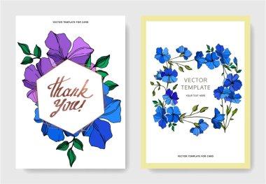 Vector Flax floral botanical flowers. Violet and blue engraved ink art. Wedding background card floral decorative border. Thank you, rsvp, invitation elegant card illustration graphic set banner. stock vector