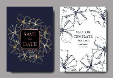 Vector Flax floral botanical flowers. Black and white engraved ink art. Wedding background card floral decorative border. Thank you, rsvp, invitation elegant card illustration graphic set banner. clip art vector