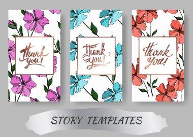 Vector Flax floral botanical flowers. Black and white engraved ink art. Wedding background card floral decorative border. Thank you, rsvp, invitation elegant card illustration graphic set banner. stock vector