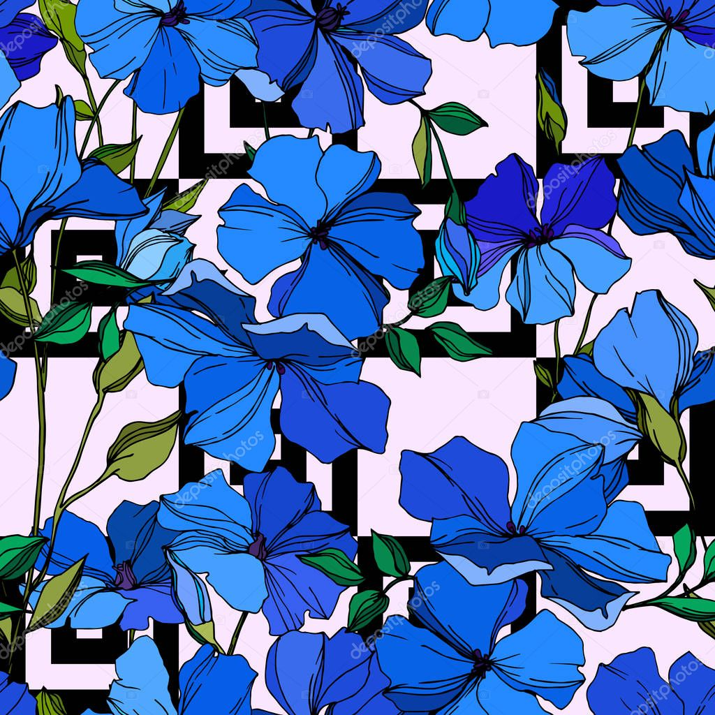 Vector Flax floral botanical flowers. Wild spring leaf wildflower isolated. Blue and green engraved ink art. Seamless background pattern. Fabric wallpaper print texture. clipart vector