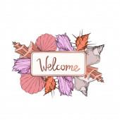 Vector Summer beach seashell tropical elements. Engraved ink art. Frame border ornament square.