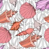 Nyári strand Seashell trópusi elemeket. Gravírozott tinta művészet. Folytonos háttérmintázat. Szövet tapéta nyomtatási textúra.