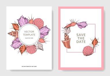 Vector Summer beach seashell tropical elements. Engraved ink art. Wedding background card decorative border. Thank you, rsvp, invitation elegant card illustration graphic set banner. clip art vector