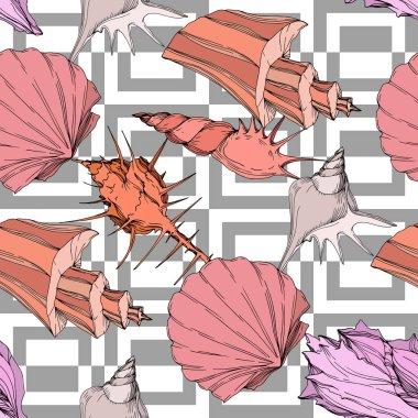 Summer beach seashell tropical elements. Engraved ink art. Seamless background pattern. Fabric wallpaper print texture on white background. clip art vector