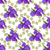 Photo Vector Iris floral botanical flowers. Black and white engraved ink art. Seamless background pattern.