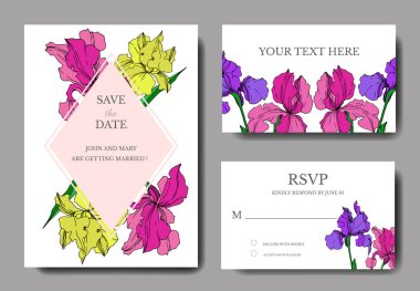 Vector Iris floral botanical flowers. Black and white engraved ink art. Wedding background card decorative border. Thank you, rsvp, invitation elegant card illustration graphic set banner. stock vector