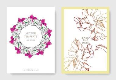 Vector Iris floral botanical flowers. Black and white engraved ink art. Wedding background card decorative border. Thank you, rsvp, invitation elegant card illustration graphic set banner. clip art vector