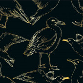 Photo Vector Sky bird seagull in a wildlife isolated. Black and white engraved ink art. Seamless background pattern.