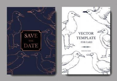 Vector Sky bird seagull in a wildlife. Black and white engraved ink art. Wedding background card decorative border.