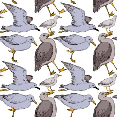 Vector Sky bird seagull in a wildlife isolated. Wild freedom, bird with a flying wings. Black and white engraved ink art. Seamless background pattern. Fabric wallpaper print texture. clip art vector