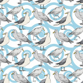Sky bird seagull in a wildlife. Black and white engraved ink art. Seamless background pattern.