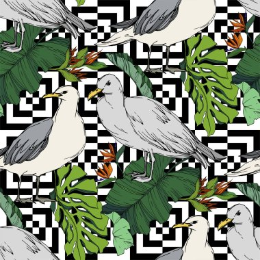 Sky bird seagull in a wildlife. Wild freedom, bird with a flying wings. Black and white engraved ink art. Seamless background pattern. Fabric wallpaper print texture. stock vector
