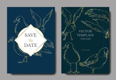Vector Sky bird seagull in a wildlife. Black and white engraved ink art. Wedding background card decorative border. Thank you, rsvp, invitation elegant card illustration graphic set banner. clip art vector