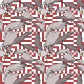 Vektor Sky madár sirály a vadon élő állatok. Fekete-fehér vésett tinta Art. Folytonos háttérmintázat.