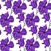 Vector orchidea virágos botanikus virágok. Fekete és lila vésett tinta művészet. Folytonos háttérmintázat.