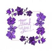 Vektorové orchideje květinové botanické květiny. Černý a fialový ryzovaný inkoust. Orámovaná hranatá hranice.