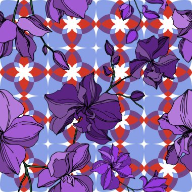 Vector Orchid floral botanical flowers. Wild spring leaf wildflower isolated. Black and purple engraved ink art. Seamless background pattern. Fabric wallpaper print texture. clip art vector