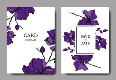 Vector Orchid floral botanical flowers. Black and white engraved ink art. Wedding background card decorative border. Thank you, rsvp, invitation elegant card illustration graphic set banner. clip art vector