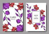 Vector orchidea virágos botanikus virágok. Fekete-fehér vésett tinta Art. Esküvői háttér-kártya dekoratív határon.