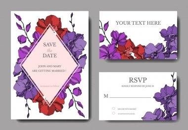 Vector Orchid floral botanical flowers. Black and white engraved ink art. Wedding background card decorative border. Thank you, rsvp, invitation elegant card illustration graphic set banner. stock vector