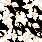 Vector Orchid floral botanical flowers. Black and white engraved ink art. Seamless background pattern.