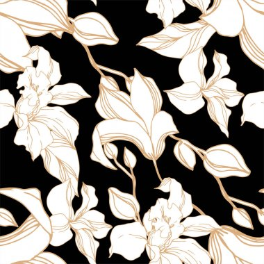 Vector Orchid floral botanical flowers. Wild spring leaf wildflower isolated. Black and white engraved ink art. Seamless background pattern. Fabric wallpaper print texture. clip art vector