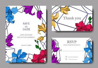 Vector Orchid floral botanical flowers. Black and white engraved ink art. Wedding background card floral decorative border. Thank you, rsvp, invitation elegant card illustration graphic set banner. stock vector