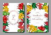 Vector Palm plážové botanické květiny. Černé a bílé ryté inkoustem. Blahopřání k sňatku-ozdobný okraj.