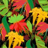 Plážový strom Vector Palm zanechává botanické květiny v džungli. Černé a bílé ryté inkoustem. Bezespání vzorek pozadí.