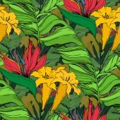 Vector Palm strand fa elhagyja dzsungelben botanikai virágok. Fekete-fehér vésett tinta Art. Folytonos háttérmintázat.