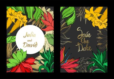 Vector Palm beach tree botanical flowers. Black and white engraved ink art. Wedding background card floral decorative border. Thank you, rsvp, invitation elegant card illustration graphic set banner. stock vector